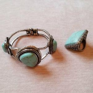 Turquoise bracelet & ring